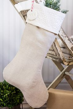 Christmas Stocking Flax Linen with Ivory Matelasse Cuff
