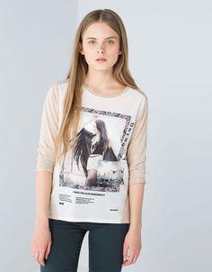 BSK combined fabric T-shirt - T-shirts - Bershka United Kingdom