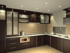 Small modular kitchen images with light pendants for kitchen island with modern kitchen cabinet design u shape Kitchen Decor, Interior Design Kitchen, Modular Kitchen Cabinets, Luxury Kitchens, Kitchen Images, Kitchen Furniture Design, Kitchen Modular, New Kitchen Cabinets, Kitchen Renovation