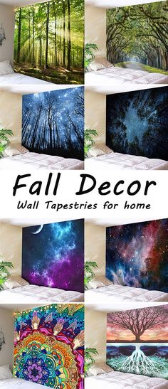 fall decor ideas:Wall Tapestries Woven Wall Hanging, Tapestry Wall Hanging, Diy Dream Home, Cool Tapestries, Fall Tree Painting, Floor Decor, Colorful Decor, Cheap Home Decor, Diy Wall