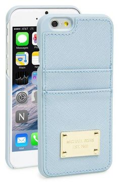 I ❤️ this baby blue mk phone case MICHAEL Michael Kors Card Holder iPhone 6 Case |