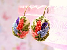 Colorful Flower Earrings Polymer Clay English Stock by Sweetystuff, £20.00