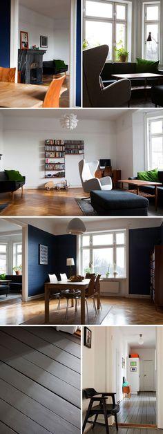 Scandinave, années 50 (murs bleus, parquet et étagères style tomado)
