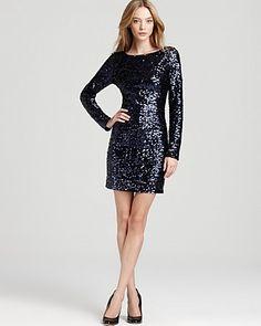 Aidan Mattox Sequin Dress - V Back | Bloomingdale's