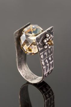 Silver and crystal bead ring designed and created by Juanita Burton Designs.