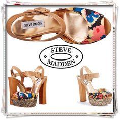 "Steve Madden Jillyy 8.5 Glitter platform sandal Steve Madden ""Jillyy"" Canvas Platform Sandal. New without box. Size 8.5. Multi color floral design. 5 1/2"" heel. Adjustable ankle strap with buckle closure. Peep toe silhouette. Man made lining. Lightly padded footbed. Steve Madden Shoes Platforms"