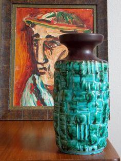 "West German Vase 10"" Fat Lava Vase West German Pottery Tall Vase Modernist Geometric Ceramic Mid Century Modern"