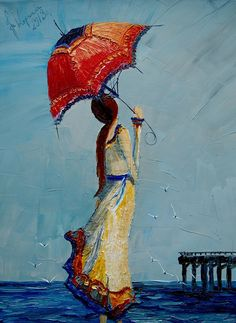 Sea **by StudioUndertheMoon (justyna kopania)__ Oil Painting Umbrella Painting, Umbrella Art, Under My Umbrella, Rain Art, Palette Knife Painting, Art Themes, French Artists, Gustav Klimt, Painting & Drawing