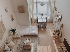 Image may contain: indoor Room Ideas Bedroom, Small Room Bedroom, Home Bedroom, Bedroom Decor, Bedroom Ideas For Small Rooms, Bedrooms, Studio Apartment Decorating, Apartment Interior, Room Interior