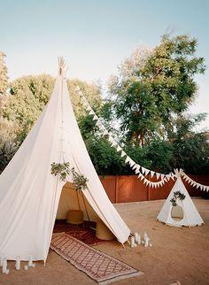 Brides: A Romantic California Wedding with a Bohemian, Backyard Twist Tepee Wedding, Diy Wedding, Wedding Reception, Wedding Venues, Wedding Day, Boho Bridal Hair, Boho Wedding Dress, Simple First Birthday, Bridezilla