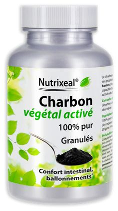 Charbon végétal activé, produit à partir de coques de noix de coco. 100% pur. Fabrication française.