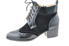 NEW WOMEN LADIES HIGH HEEL BLACK LACE UP OFFICE WORK ANKLE ZIP BOOTS SIZE 3-7.5