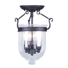Stanton Burnished Bronze Two Light Convertible Semi Flush Mount With Soft White Glass Capi