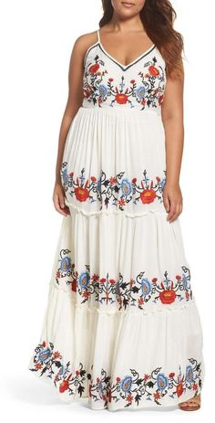 Plus Size Embroidered Tiered Gauze Maxi Dress #Nordstrom