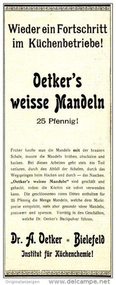 Original-Werbung/Anzeige 1901 - WEISSE MANDELN / DR. OETKER BIELEFELD -  ca. 90 x 230 mm