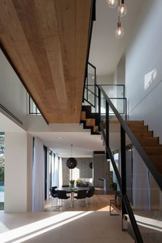 Wider Effect Design for House: Unique Wooden Stairs Design With Transparent Handrail – Jaybean