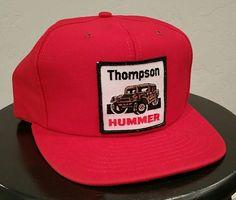 3bb05f1b Thompson Hummer red Snapback Hat Trucker Cap CAT Caterpillar Men adjustable  New #CAT #TruckerHat