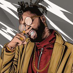 Kagwemungai art by Rapper Quotes, Rapper Art, Savage Wallpapers, Drugs Art, Barber Logo, Marvel Paintings, King Photography, Hip Hop Art, King Art