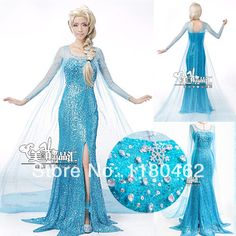 new frozen party cosplay adult snow queen elsa victorian princess full body dress wig girls kigurumi clothing set costume US $150.00