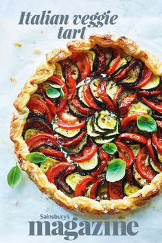 This Italian veggie tart recipe is packed with vibrant Mediterranean flavours. Scatter with basil and drizzle with olive oil for the perfect light lunch this summer Tart Recipes, Veggie Recipes, Seafood Recipes, Beef Recipes, Cooking Recipes, Veggie Meals, Brunch Recipes, Dinner Recipes, Vegetable Tart