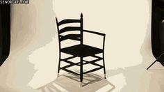 Gif que muestra la ilusión óptica que hace una silla
