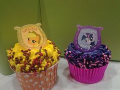 My Little Pony cupcake rings picks cake toppers, perfect for brony, birthday party, treat bag favors. Pinkie Pie Applejack  Sparkle. $6.00, via Etsy.