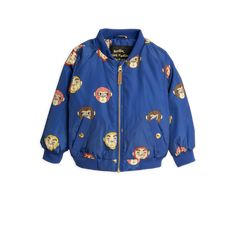 MONKEYS BOMBER JACKETMinichose Dark blue baseball jacket in recycled polysatin with a beautiful sheen, an all-over monkey print and cool details in gold. Safari Jacket, Wind Jacket, China Fashion, Summer Sale, Outerwear Jackets, Kids Outfits, Windbreaker, Bomber Jacket, Barn