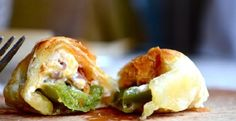 Puff Pastry Jalapeno Poppers. (Suggestion: Before wrapping in pastry, top with apricot jam or orange marmalade.)