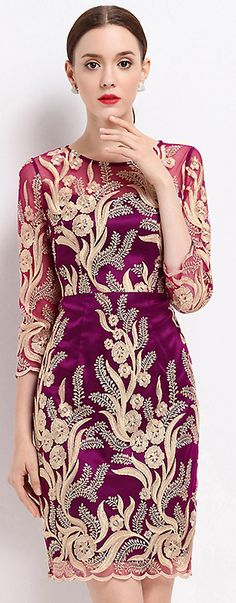 Chic Embroidery Mesh O-neck Three Quarters Sleeve Dress