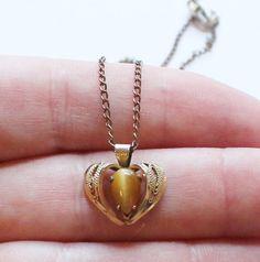 Vintage 12K Gold Filled Filigree Heart Tiger's Eye Pendant Necklace by paststore on Etsy