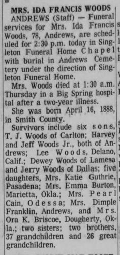 Ida Francis (Brewer) Woods - obituary The Odessa American Odessa, Texas Sat, Mar 4, 1967 – Page 2
