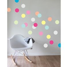 Add some gorgeous, vibrant colour and magic to your any room of the house with this divine dots removable wall decal set! Think JUMBO confetti in a rainbow of colours! OR use as part of your party decor to help create the perfect atmosphere - Add to the wall behind your dessert table or scatter throughout - once the party is over simply peel them off and apply to another wall in the house. #kidsdecor #wallstickers #nursery #playroom #designer #babyroom #confettiparty #littlebooteekau
