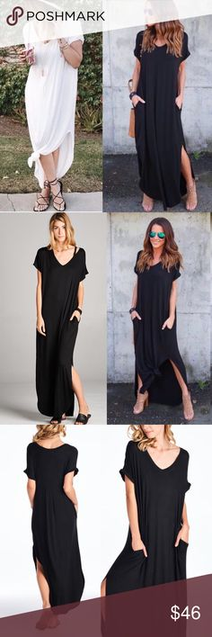 1DAY SALE Black Maxi Dress Pocket Slits BOHO White Black or Blue! BEST SELLER! Loose V neck maxi dress -side pockets **Black Tie Dye. White, Royal Blue, Black Available** ❌PRICE FIRM❌ The most COMFY dress EVER!! You'll never want to take it off! Loose fit RAYON/SPANDEX 🇺🇸USA MADE  Chest, waist, length(inch)  S: 24, 21, 57 M: 25, 22,  58 L: 26, 24, 60  Want both? MSG me so I can put a bundle together. Posh won't let you purchase multiple items in one listing.   DON'T OFFER MORE THAT 15%…