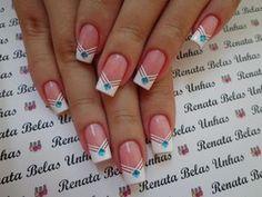 Modelos e Fotos de Unhas Espanholas Shellac Nails, Manicure And Pedicure, Cute Nails, Pretty Nails, Neutral Nail Art, Black And White Nail Art, Simple Acrylic Nails, French Nail Designs, Nail Polish Art