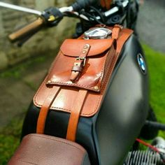 BMW r45 r65 r80 r100 series leather tank belt and documents bag Cafe Racer and Scrambler. CODE 33