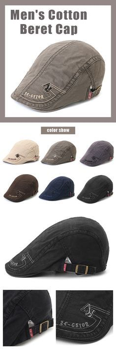 3e64f15b85a Men s Cotton Embroidery Adjustable Beret Cap Duck Hat Sunshade Casual  Outdoors Peaked Forward Cap is hot sale on Newchic.