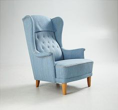 Öronlappsfåtölj Carl Malmsten Wingback Chair, Armchair, Pastel Yellow, Scandinavian Design, Furnitures, Rum, Accent Chairs, Room Ideas, Objects