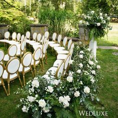 The next evolution in ceremony floral design is an arrangement that wraps all the way around the final row of seating. Such a subtle, yet dynamic alternative to the traditional floral arch! #Wedluxe Wedding Ceremony Ideas, Ceremony Decorations, Wedding Themes, Outdoor Ceremony, Wedding Ceremonies, Decor Wedding, Outdoor Seating, Wedding Aisles, Wedding Backdrops