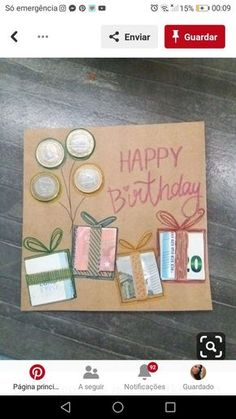 Geburtstagskarte basteln mit Geldscheinen – Carola Birthday card tinkering with banknotes – card Birthday Card With Photo, Happy Birthday Cards, Diy Birthday, Birthday Presents, Creative Money Gifts, Gift Money, Card Drawing, Diy Cards, Diy Gifts