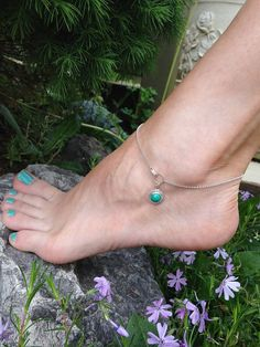 Sterling Silver Genu  Sterling Silver Genuine Turquoise Anklet, Cabochon stone by CopperfoxGemsJewelry on Etsy