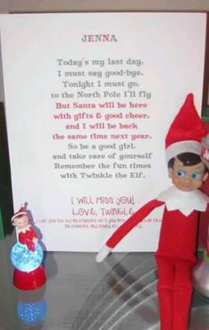 Cute Elf on the Shelf farewell letter.