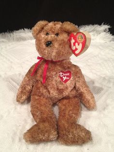 Ty THANK YOU  Bear ~LIGHT BROWN BEAR ~ Dealer EXCL Beanie Baby~ MWMT'S ~ RETIRED #TyBeanieBaby