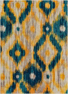 Rocambolesco Blue Modern Ikat Rug – Well Woven