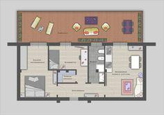 Progetto di riqualificazione appartamento: eliminazione della separazione tra cucina e soggiorno per favorire la creazione di una seconda camera.