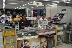 Cosmetics collection at the store...