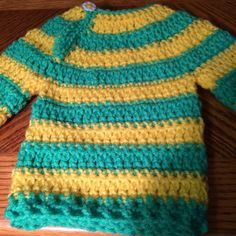 Handmade - Crochet- striped Sweater - Boy or Girl - 6 to 9 months, Green/Yellow #Handmade #Pullover #Everyday