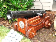 This Instructable describes the cannon I built to disguise the fog machine I use for my pirate-themed Halloween setup. I was built primarily out of standard 2 x 4...