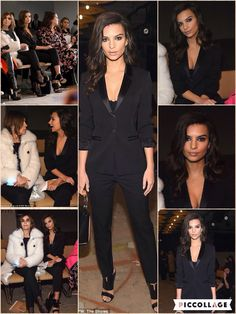 Emily Ratajkowski showcased her famous D-cup cleavage in a black tuxedo while attending the Hugo Boss Womenswear FW/16 show at New York Fashion Week on Wednesday. Stylist Tara Swennen outfitted the 24-year-old actress in the plunging pantsuit, matching stilettos, and translucent-handled purse. The We Are Your Friends starlet sported a bronzed complexion, smoky eye make-up, lip gloss, and coiffed curls.