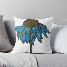 'Daisy Days Blue' Throw Pillow by Laurajart