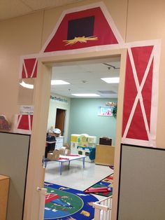Barn door idea for classroom farm theme